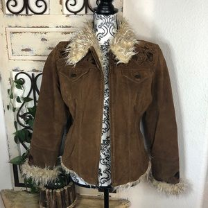 Mudd boho brown leather faux fur lined jacket
